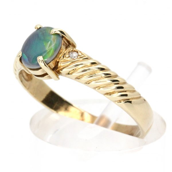 Black Opal & Diamond Ring Yellow Gold
