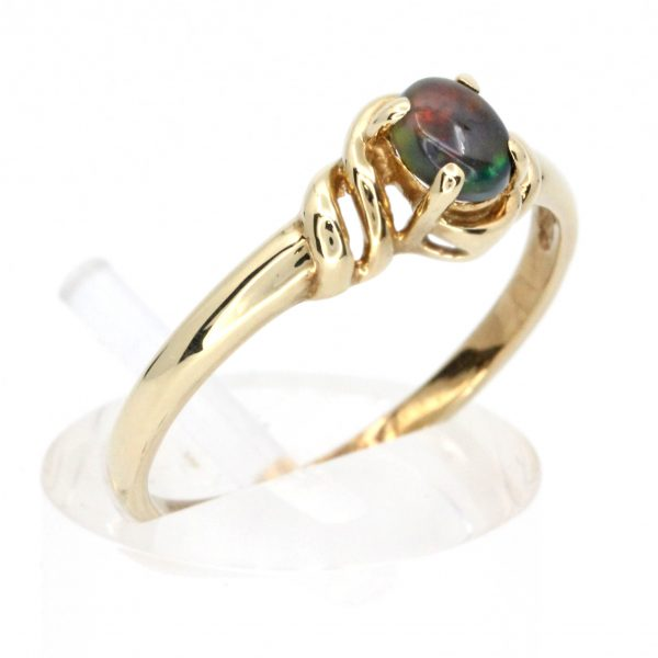 Claw Set Black Opal Ring set in 9ct Yellow Gold