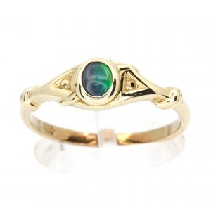 Oval Black Opal Ring set