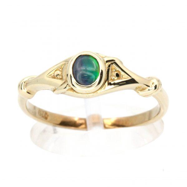 Oval Black Opal Ring set