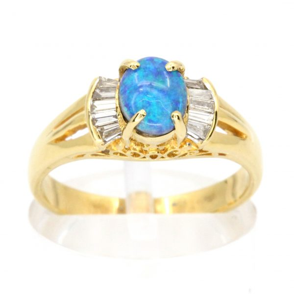 Oval Grey Opal With Diamonds set in 18ct Yellow Gold