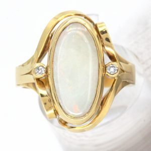 Coober Pedy White Opal & Diamond Ring set in 18ct White Gold