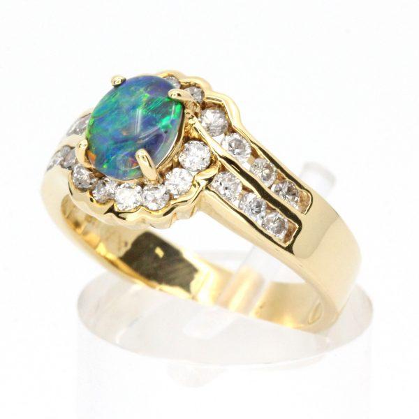 Black Opal & Diamond Ring set in 18ct Yellow Gold