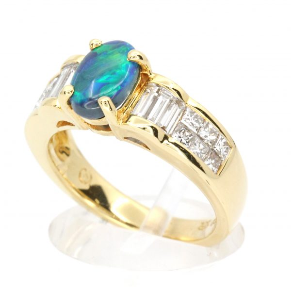 Black Opal & Diamond Ring set in 18ct Yellow Gold