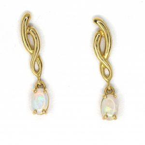 Opal Drop Stud Earrings