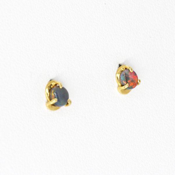 Crystal Opal Drop Stud Earrings in 14ct White Gold