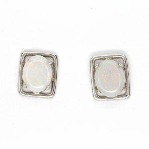 grey opal rectangular stud earrings