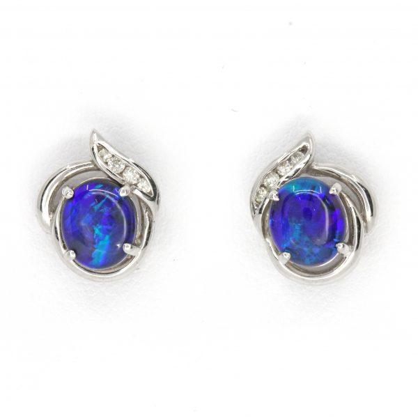 fancy black opal and diamond earrings