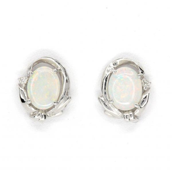 fancy crystal opal and diamond stud earrings
