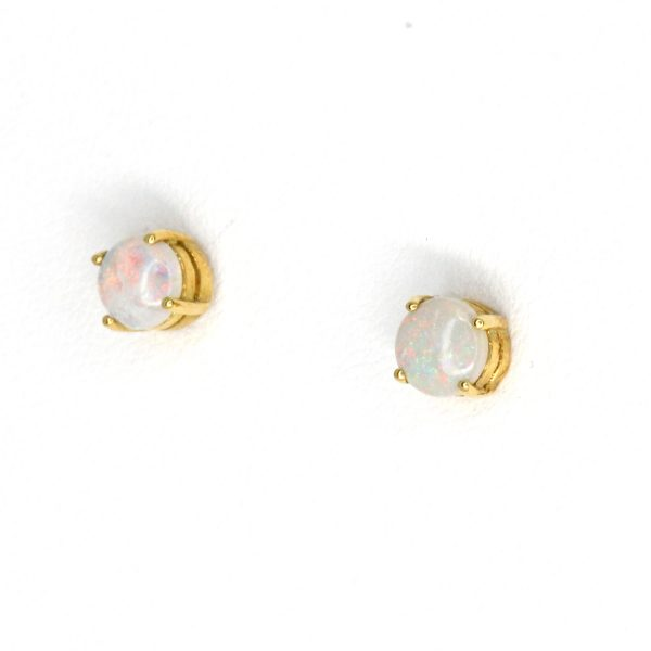 Opal Stud Gold Earrings