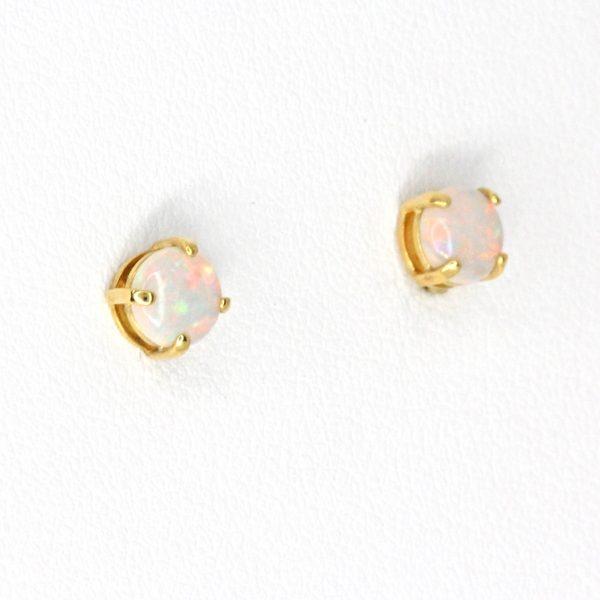 Opal Stud Gold Earrings