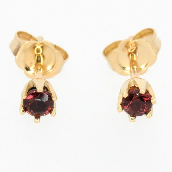 round cut garnet earrings