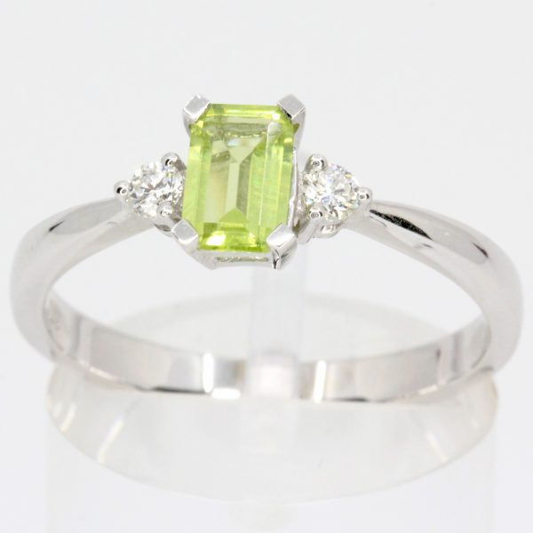 rectangle peridot diamond ring