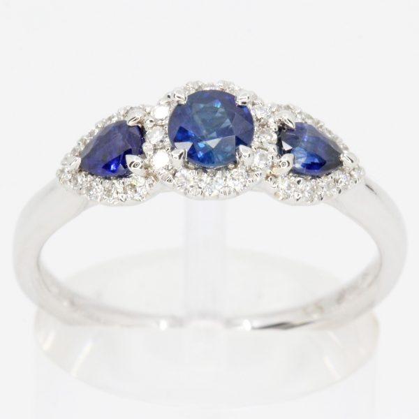 3 stone blue diamond ring