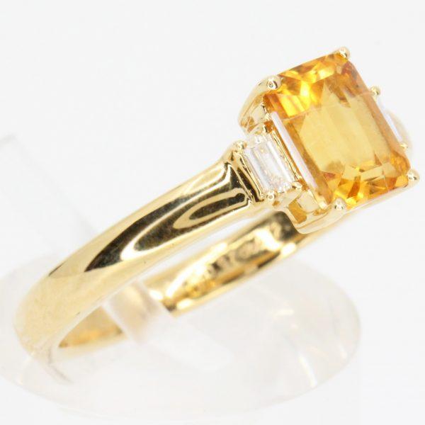 square citrine ring