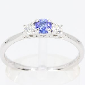 blue diamond white gold ring
