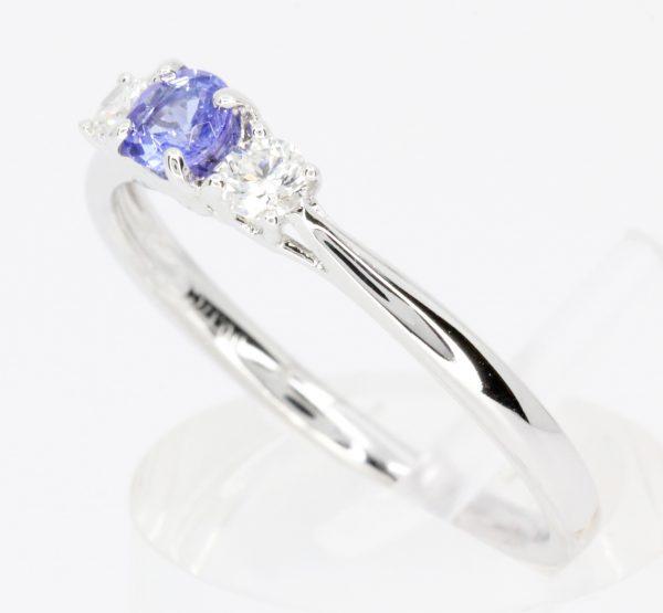 blue diamond white gold ring