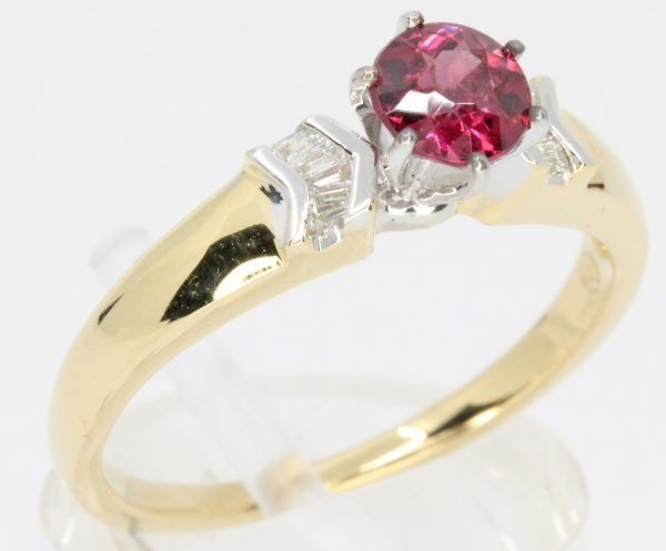 red coloured diamonds ring