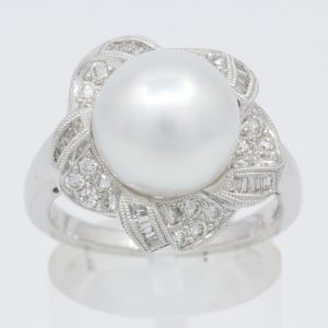 pearl ring with diamonds ring
