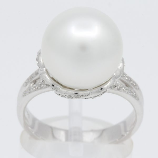 white south sea pearl diamond ring