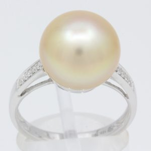South Sea Pearl Ring with Accent Diamonds