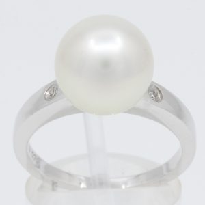 White Gold South Sea Autore Pearl Ring with Accent Diamonds