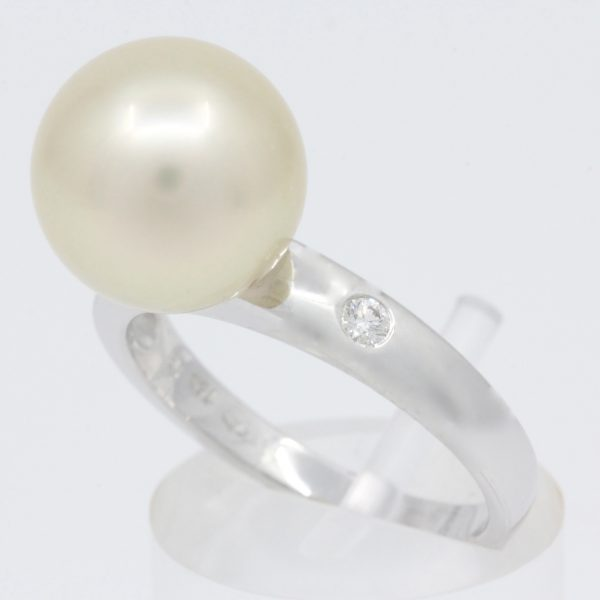 White Gold Golden South Sea Pearl Ring with Accent Diamonds