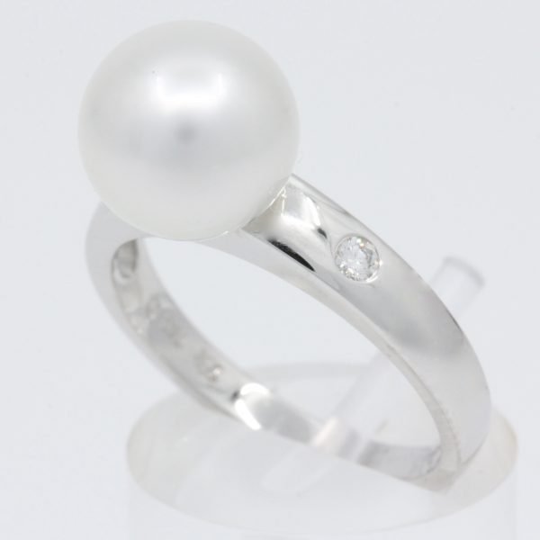 White Gold South Sea Pearl Ring with Accent Diamonds