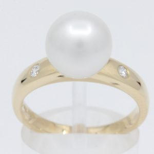 Yellow Gold South Sea Pearl Ring with Accent Diamonds