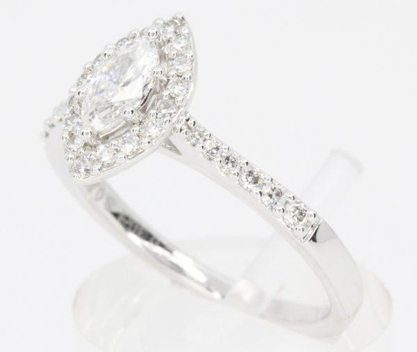 oval diamond set white gold ring