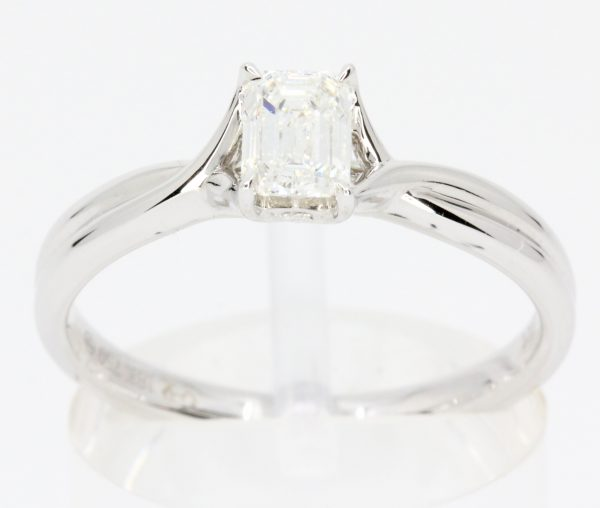 square diamond white gold ring