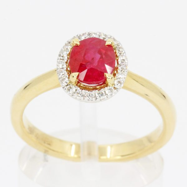 Claw Set 18ct Yellow Gold Ruby Ring with Halo of Diamonds