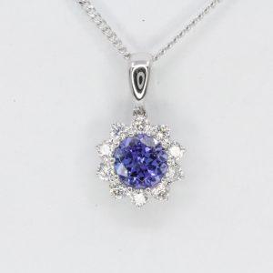 Tanzanite Pendant with Diamonds set in 18ct White Gold