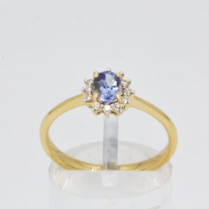 0.44ct Oval Cut Tanzanite with Diamonds set in 18ct Gold