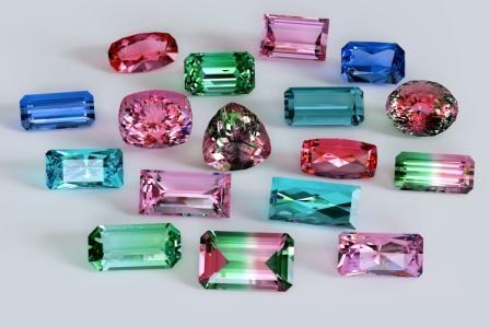variety of tourmaline gemstones at Allgem Jewellers